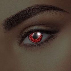 Glow Red and Black Checkers UV Contact Lenses (1 pair)