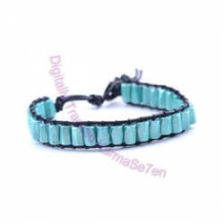 One Row Wrap Bracelet - Aqua Marine