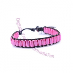 One Row Wrap Bracelet - Pretty Pink