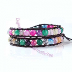 Two Row Wrap Bracelet - Mixed Colours