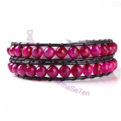 Two Row Wrap Bracelet - Hot Pink