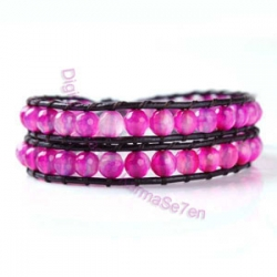 Two Row Wrap Bracelet - Passionate Pink