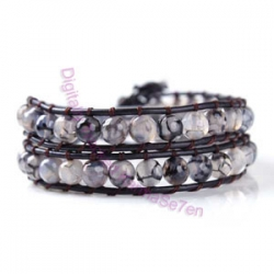 Two Row Wrap Bracelet - Grey Pebble