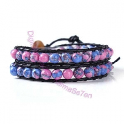 Two Row Wrap Bracelet - Bubblegum