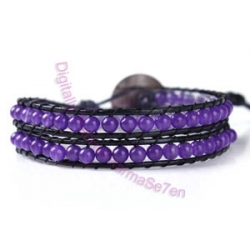 Two Row Wrap Bracelet - Dark Violet