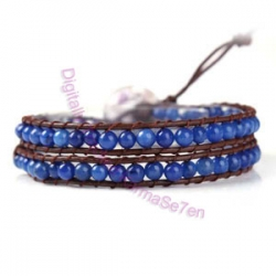 Two Row Wrap Bracelet - Royal Blue