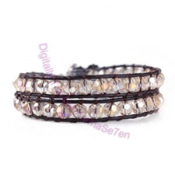 Two Row Wrap Bracelet - Floral White