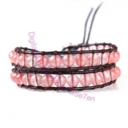 Two Row Wrap Bracelet - Misty Pink