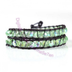 Two Row Wrap Bracelet - Spring Green