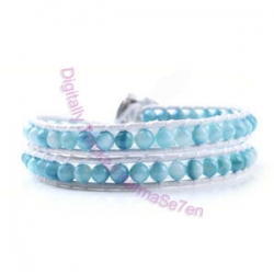 Two Row Wrap Bracelet - Light Sky Blue