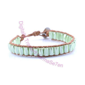 One Row Wrap Bracelet - Meadow Green