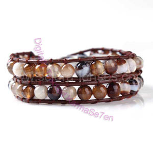 Two Row Wrap Bracelet - Natural Brown