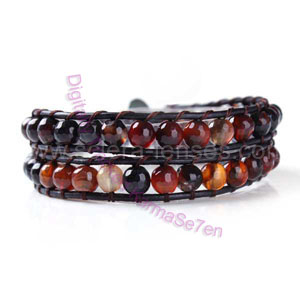Two Row Wrap Bracelet - Golden Brown