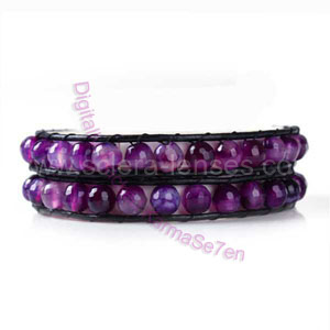 Two Row Wrap Bracelet - Dark Orchid