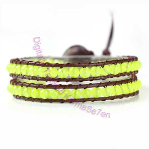 Two Row Wrap Bracelet - Acid Yellow