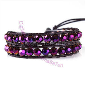Two Row Wrap Bracelet - Purple Dazzer