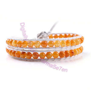 Two Row Wrap Bracelet - Orange Sunburst