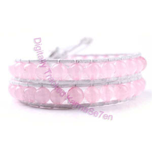 Two Row Wrap Bracelet - Baby Powder Pink